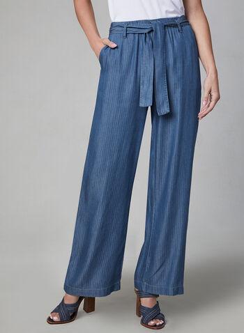 Linea Domani - Pantalon large en tencel, Bleu, hi-res,  printemps 2019, jambe large, rayures, rayé, motif