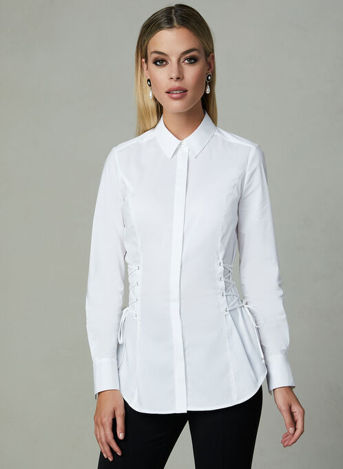 Corset Detail Long Sleeve Blouse, White, hi-res