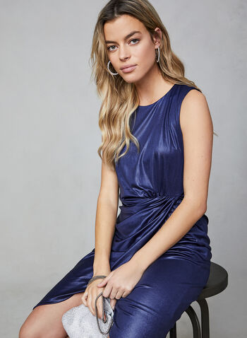 Donna Rico - Sleeveless Shiny Sheath Dress, Blue, hi-res,  cocktail dress, dress, sheath dress, jersey, satin dress, sleeveless dress, sleeveless, holiday, fall 2019, winter 2019