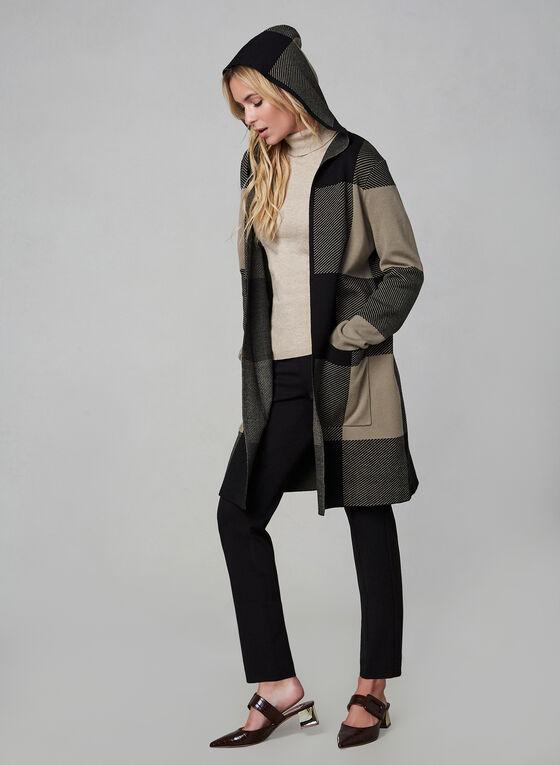 Cardigan long motif tartan à capuchon, Noir, hi-res