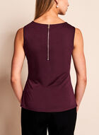 Side Pleated Jersey Top , Red, hi-res