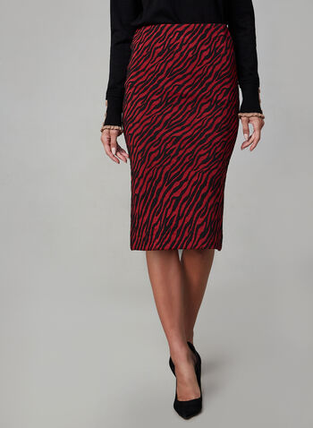 Zebra Print Pencil Skirt, Black, hi-res,  made in Canada, pencil skirt, zebra print, knit,