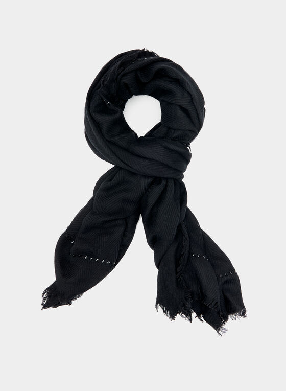 Studded Oblong Scarf, Black, hi-res