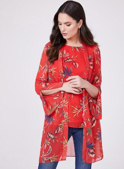 Floral Print Open Front Blouse