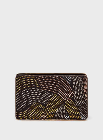 Crystal Embellished Clutch, Black, hi-res