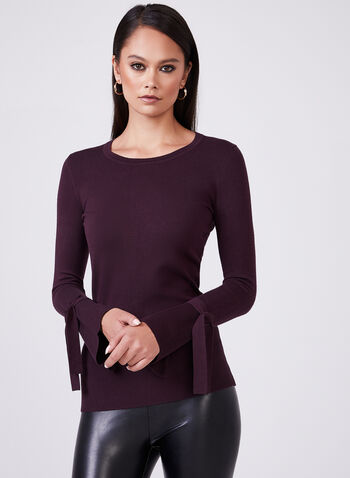 Long Bell Sleeve Knit Top, Purple, hi-res