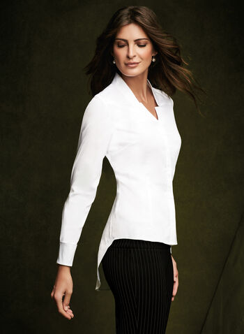 Long Sleeve Peplum Blouse, White, hi-res