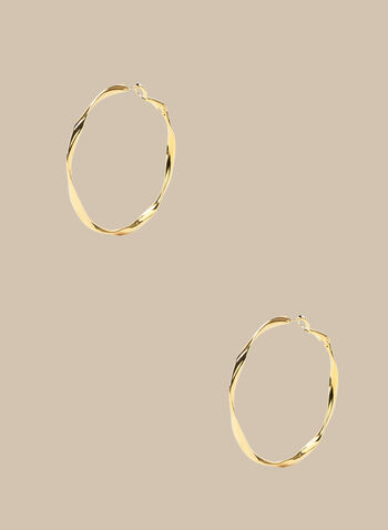 Twisted Hoop Earrrings, Gold,  spring summer 2020, gold finish, metallic hoops