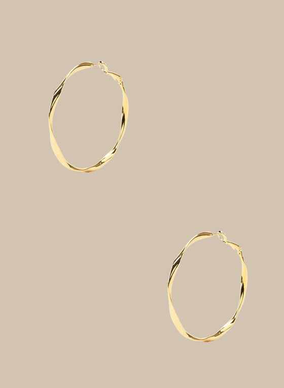 Twisted Hoop Earrrings, Gold