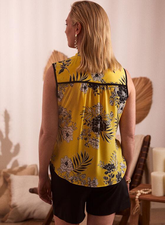 Floral Print Tie Neck Blouse, Gold