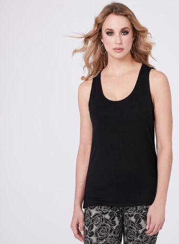 Sleeveless Scoop Neck Cami, Black, hi-res