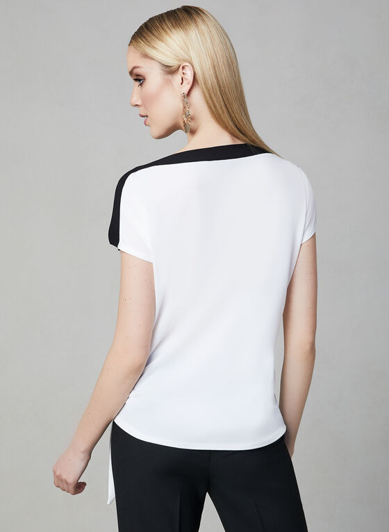 Contrast Border Crepe Top, Off White, hi-res