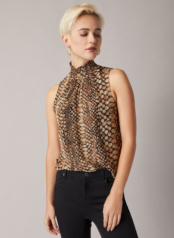 Tortoiseshell Print Sleeveless Blouse , Brown,  blouse, sleeveless, smocked neck, mock, chiffon, fall winter 2020