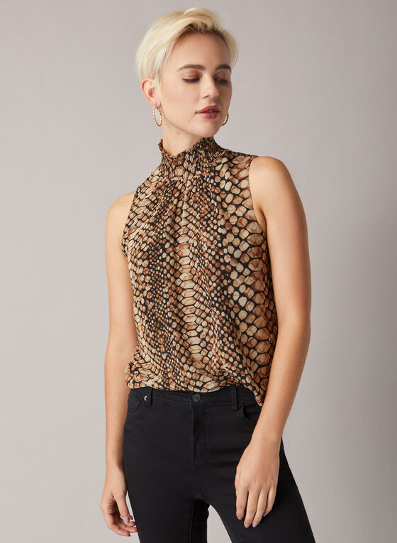 Tortoiseshell Print Sleeveless Blouse , Brown