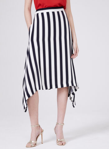 Stripe Print Sharkbite Skirt, Blue, hi-res