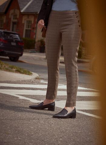 Pantalon Amber à motif pied-de-poule, Brun,  pantalon, amber, jambe étroite, poches passepoilées, détail, boutons décoratifs, motif pied-de-poule, bi-extensible, automne hiver 2021, bureau