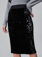 Sequin Pencil Skirt, Black