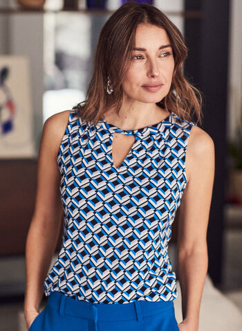 Geometric Print Sleeveless Top, Blue,  top, sleeveless, keyhole, geometric print, crepe, spring summer 2021