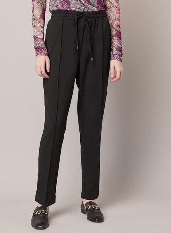 Pantalon décontracté avec liens, Noir,  automne hiver 2020, pantalon, décontracté, liens, serrage, jambe droite, pinces