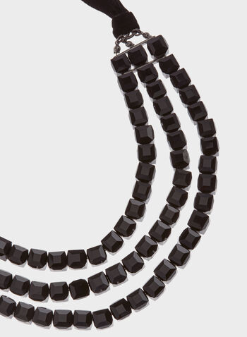 Stone & Velvet Necklace, Black, hi-res