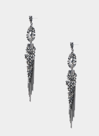 Vintage Chandelier Earrings, Grey,  metal earrings, vintage earrings, long earrings