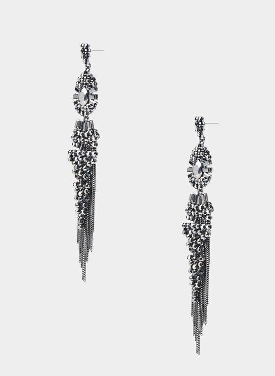 Boucles d'oreilles à cascade de chaînettes, Gris