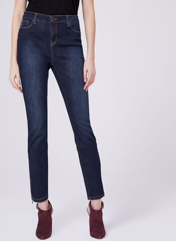 Slim Leg 5-Pocket Ankle Jeans, Blue, hi-res