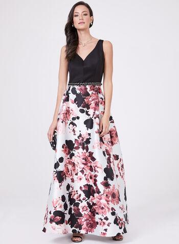 Ignite Evenings - Robe ajustée et évasée à jupe fleurie, Noir, hi-res
