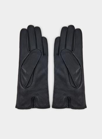 Gants en cuir et détail nœud, Noir,  gants, cuir, nœud, métal, strass, automne hiver 2019