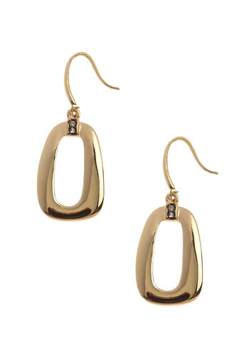 Open Geometric Dangle Earrings, Gold, hi-res