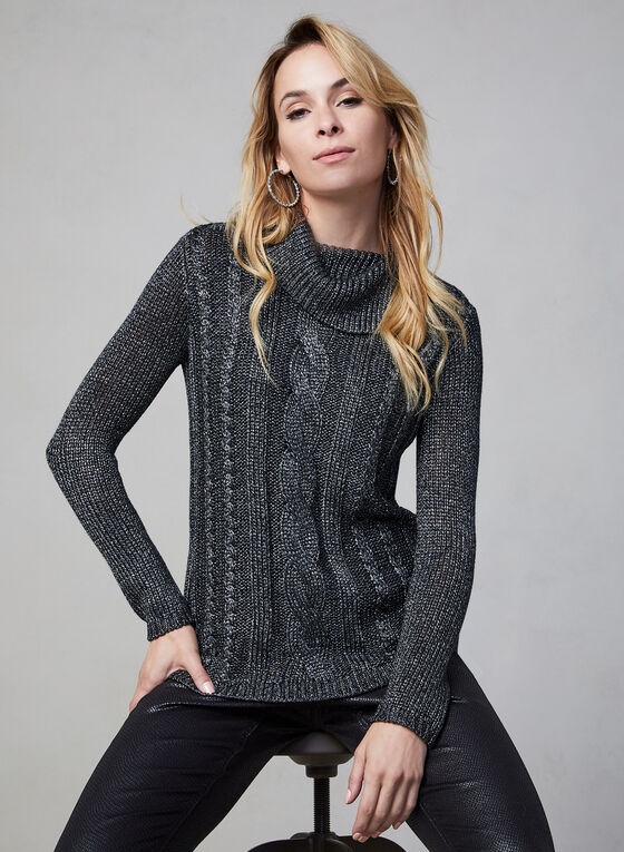 Cable Knit Turtleneck, Grey