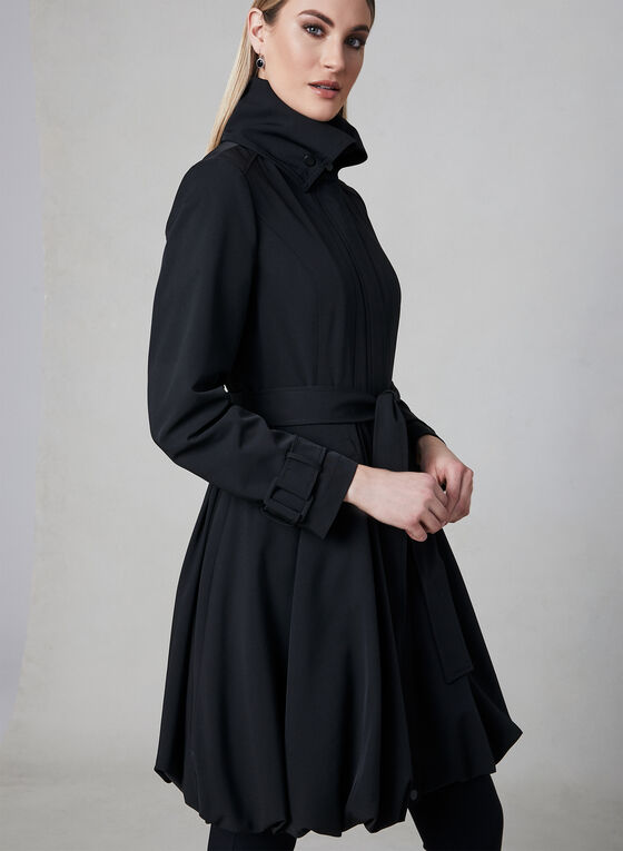 Stand Collar Trench Coat, Black