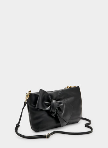 Bow Detail Clutch, Black, hi-res
