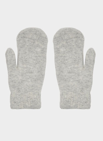 Mixed Wool & Acrylic Gloves, Grey,  gloves, wool gloves, pompom, fall 2019, winter 2019