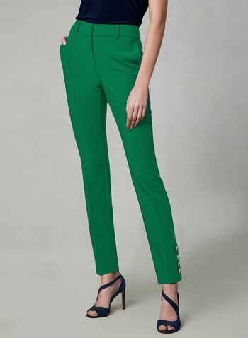 Button Detail Slim Leg Pants, Green, hi-res