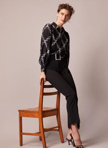Haut manches bouffantes à motif bijoux, Noir,  automne hiver 2020, blouse, haut, manches longues, chemisier, manches bouffantes, boutons, crêpe, motif