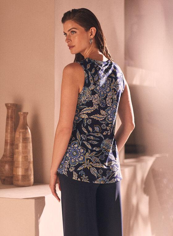 Blouse sans manches à motif floral , Bleu