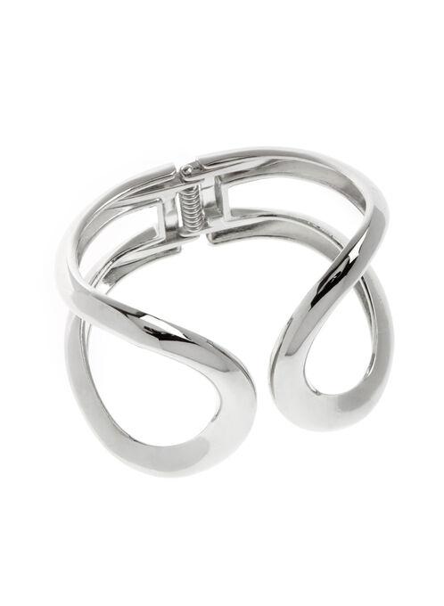 Bracelet rigide large ajouré design arrondi, Argent, hi-res