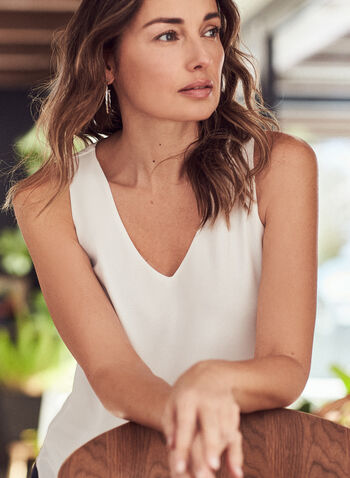 Sleeveless Crepe Blouse, Off White,  blouse, top, sleeveless, V-neck, crepe, spring summer 2021