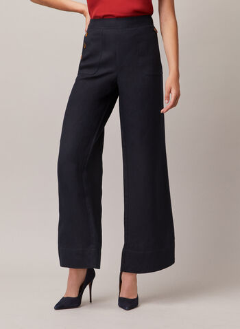Linen Wide Leg Pants, Blue,  pants, wide leg, button, pockets, linen, spring summer 2020
