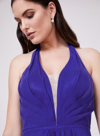Cachet - Halter Neck Chiffon Dress, Blue, hi-res