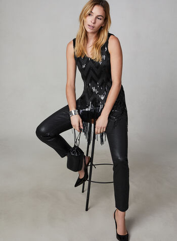 Slim Leg Faux Leather Pants , Black, hi-res,  pants, slim leg, leather, mid rise. pockets, crocodile motif, fall 2019, winter 2019