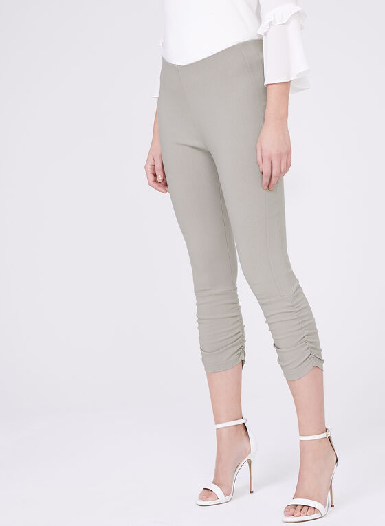 Ruched Bengaline Capri Pants, Grey, hi-res