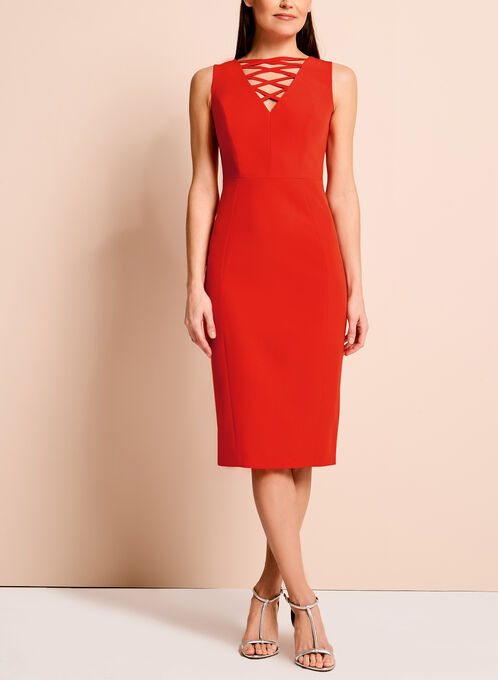 Jax Lace Up Sheath Dress, Red, hi-res