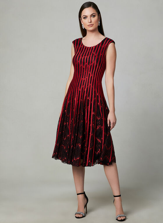 Fit & Flare Lace Dress, Red, hi-res