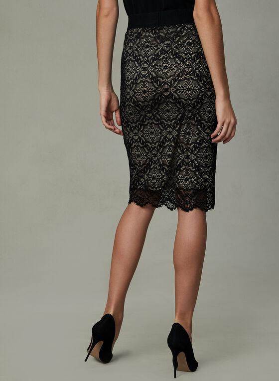 Lace Pencil Skirt, Black, hi-res
