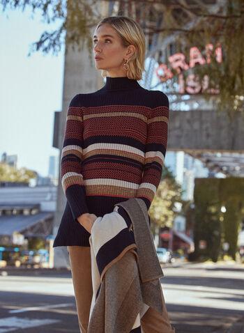Striped Tunic Sweater, Black,  fall winter 2020, sweater, tunic, long sleeves, sweater, knit, ribbed, stripes, pattern, striped, slits, metallic, metallic, turtle neck