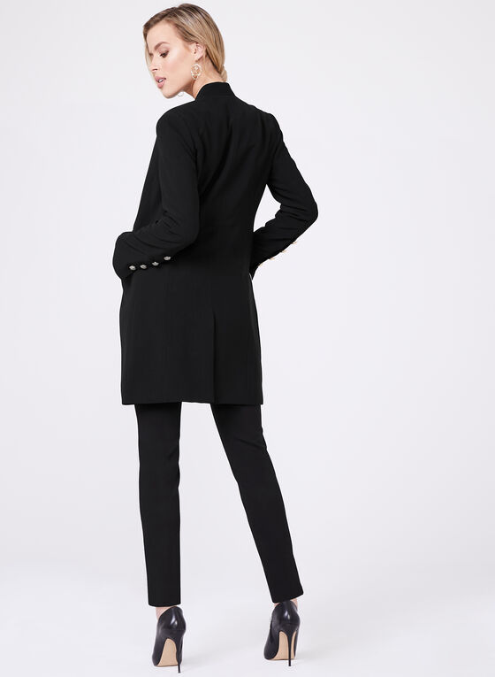Notch Collar Long Blazer, Black, hi-res