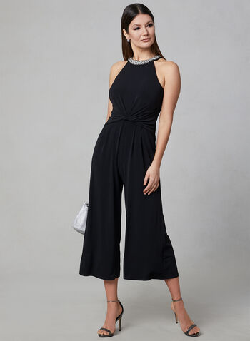 Maggy London - Embellished Collar Jumpsuit, Black, hi-res