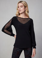 Mesh Sleeve Top, Black